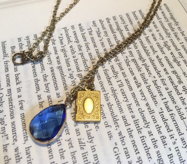 Gold book locket necklace
