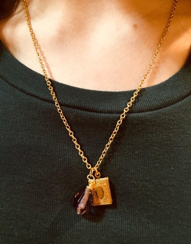 Gold book locket