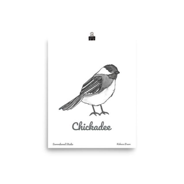 Chickadee Watercolor Print