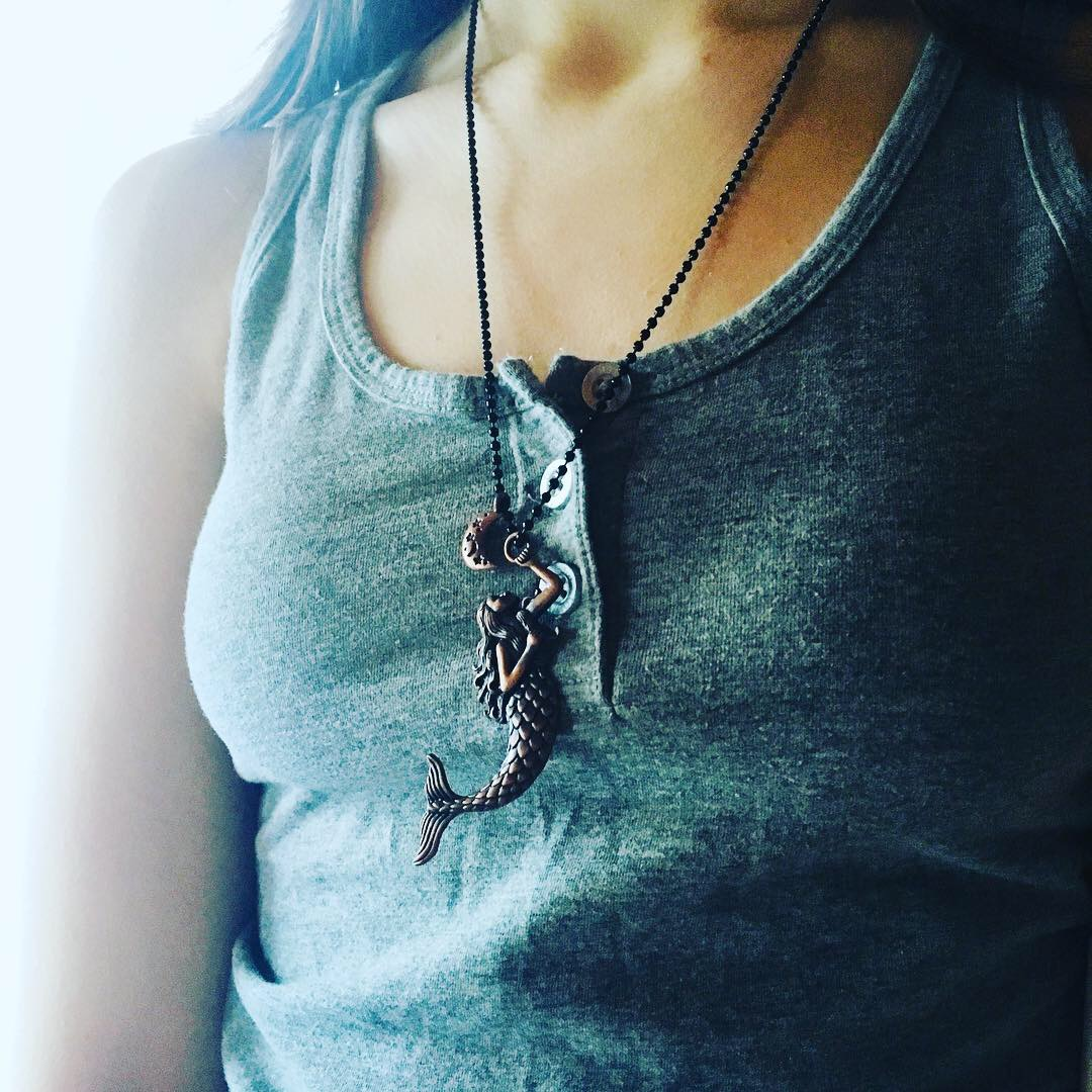 Copper Mermaid and Crescent Moon Necklace