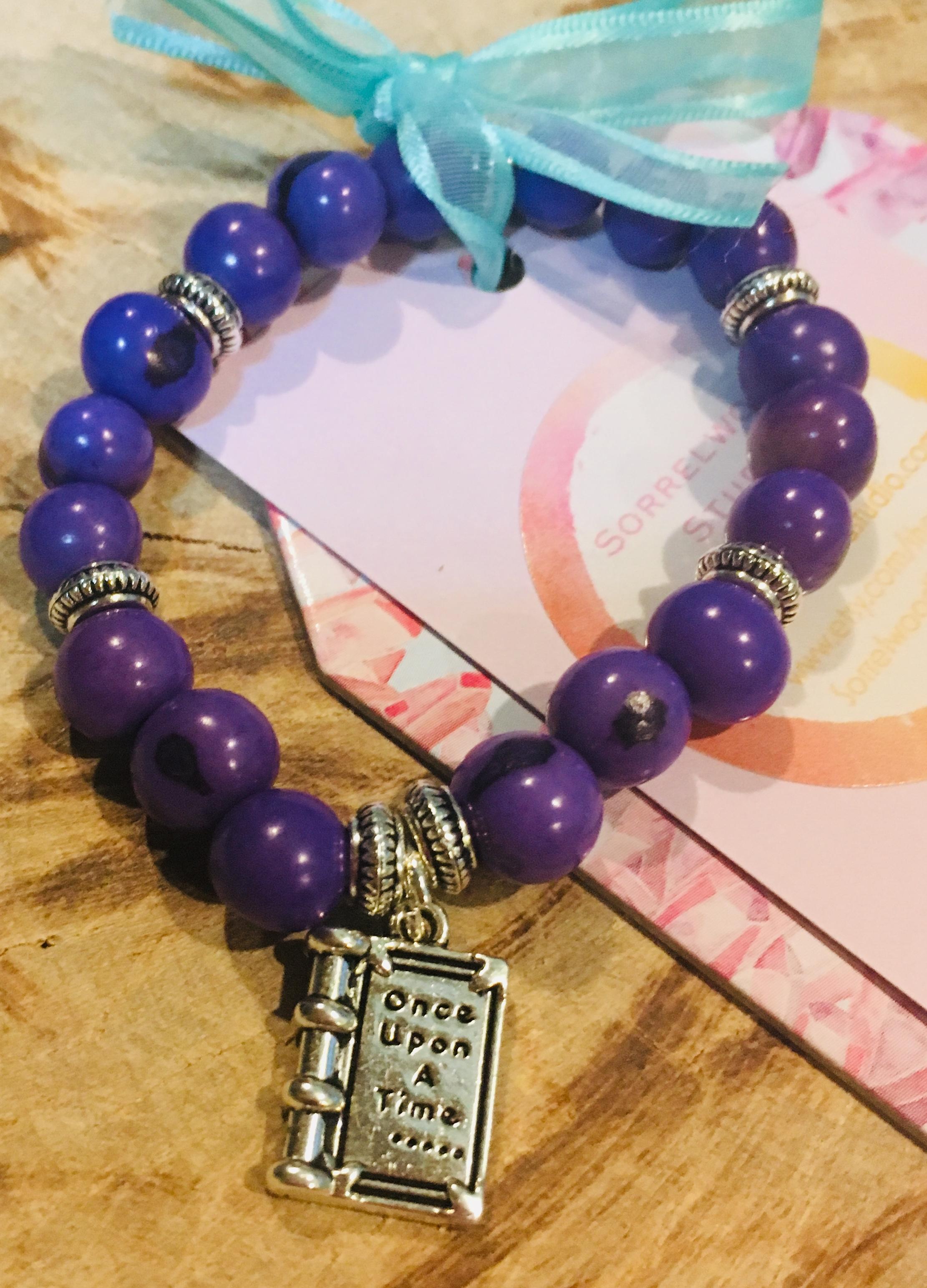 Purple Acai and Book Charm Bracelet