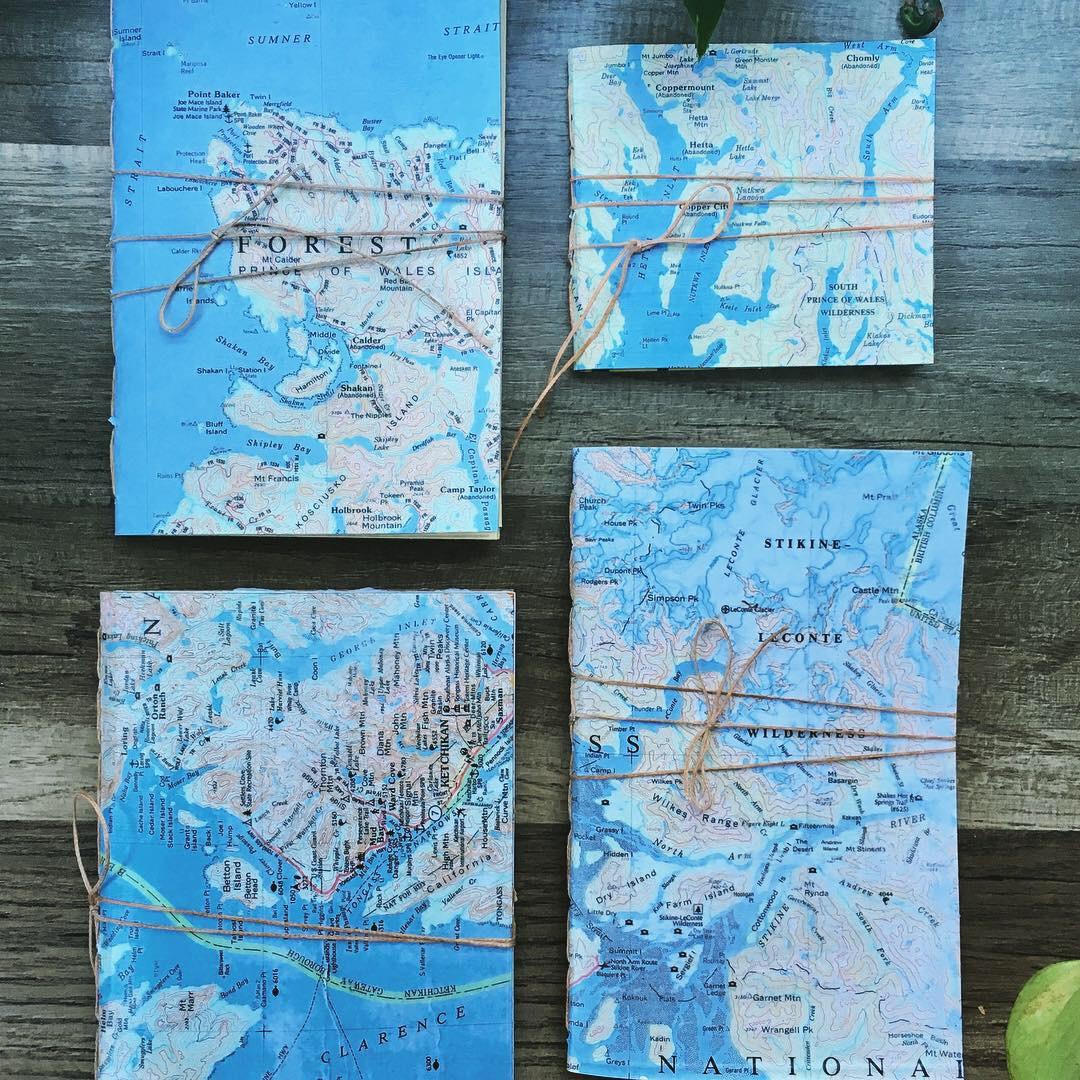 Recycled Alaska Map Journals