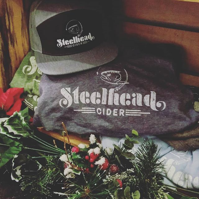 You can't go wrong with hats and shirts from Steelhead Cider this Christmas! We're now stocked with men's and women's tees for $17 and hats for $30. Available in our tasting room downtown Chelan #steelheadcider #steelhead #chelan #chelancider