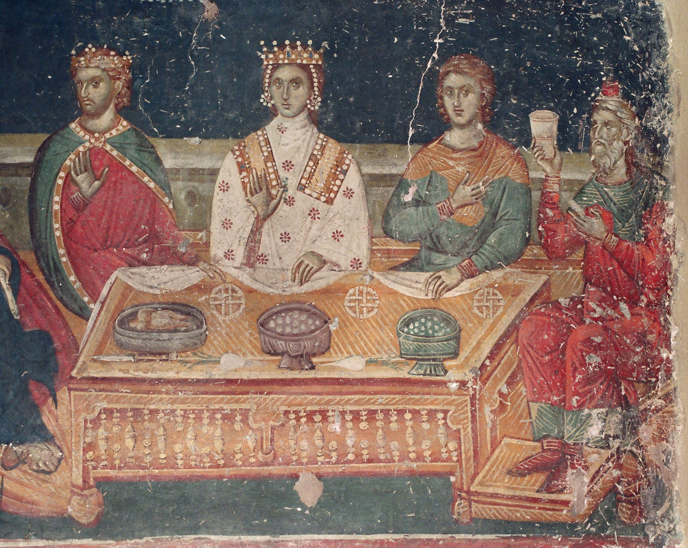 Scene from an icon of the Wedding at Cana