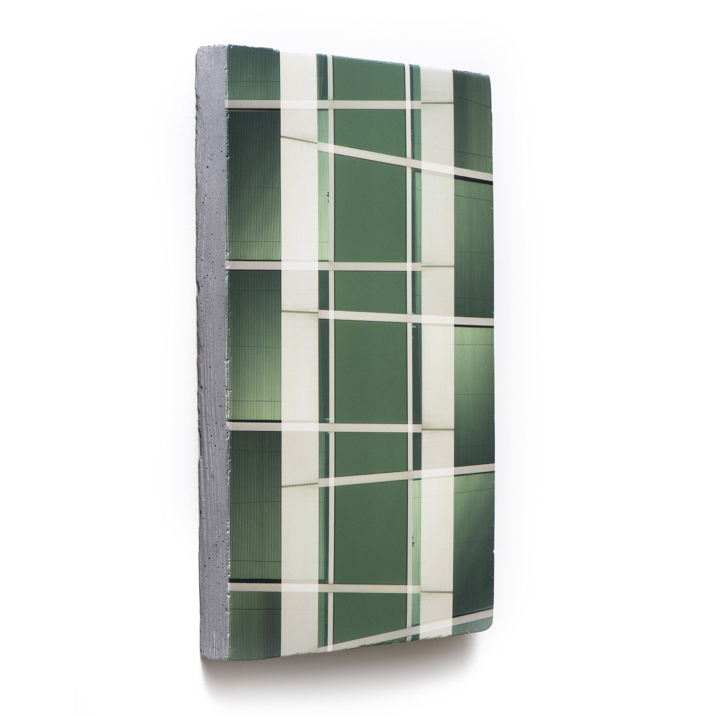 Counterform Ladder, 2017 (oblique) UV ink on concrete 18 1/2 × 12 1/2 × 1 1/2 in Unique