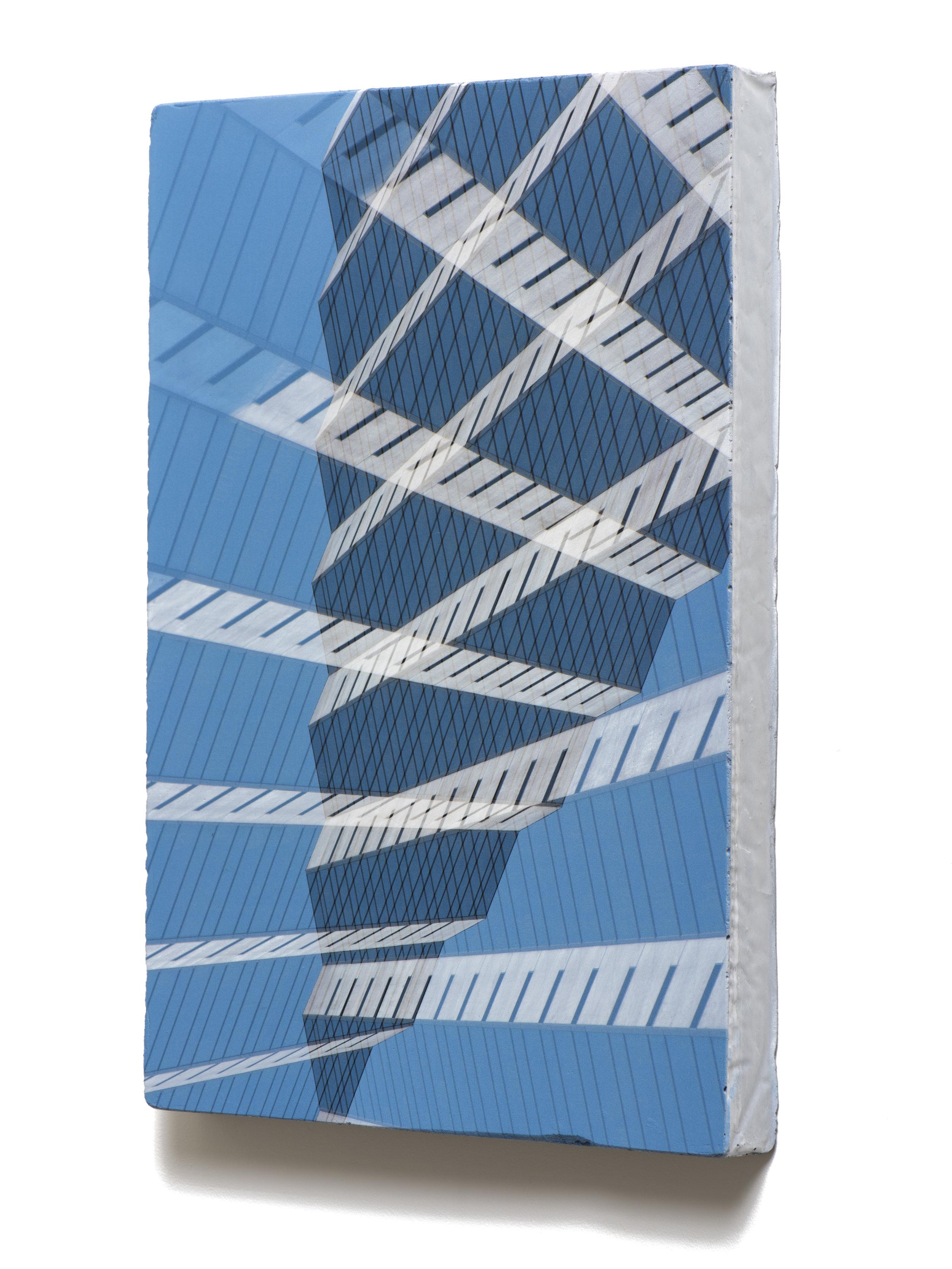 Counterform Pyramid , 2017 (oblique) UV ink on concrete 18 1/2 × 12 1/2 × 1 1/2 in Unique