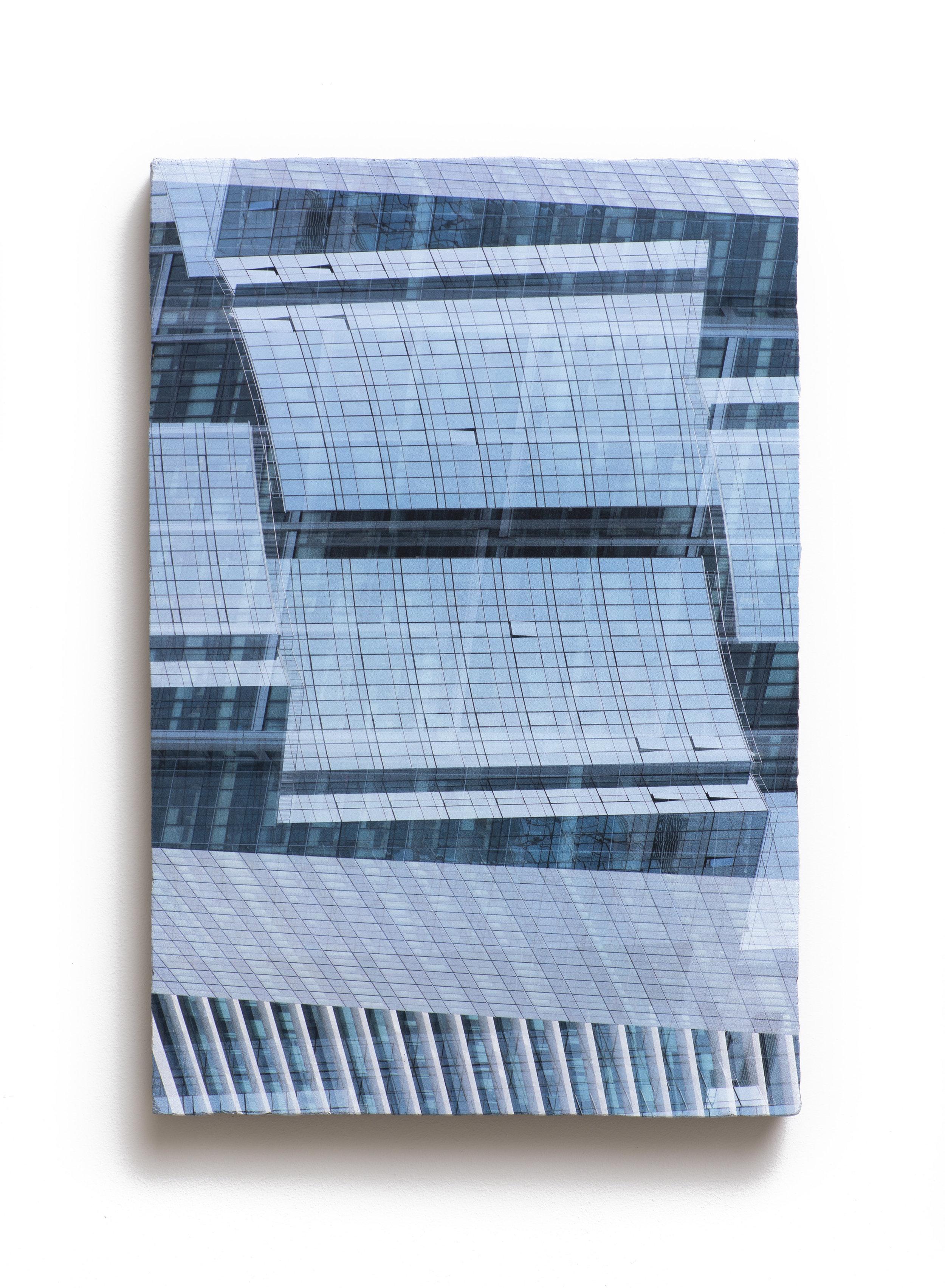 Counterform Planes, 2017 UV ink on concrete 18 1/2 × 12 1/2 × 1 1/2 in Unique