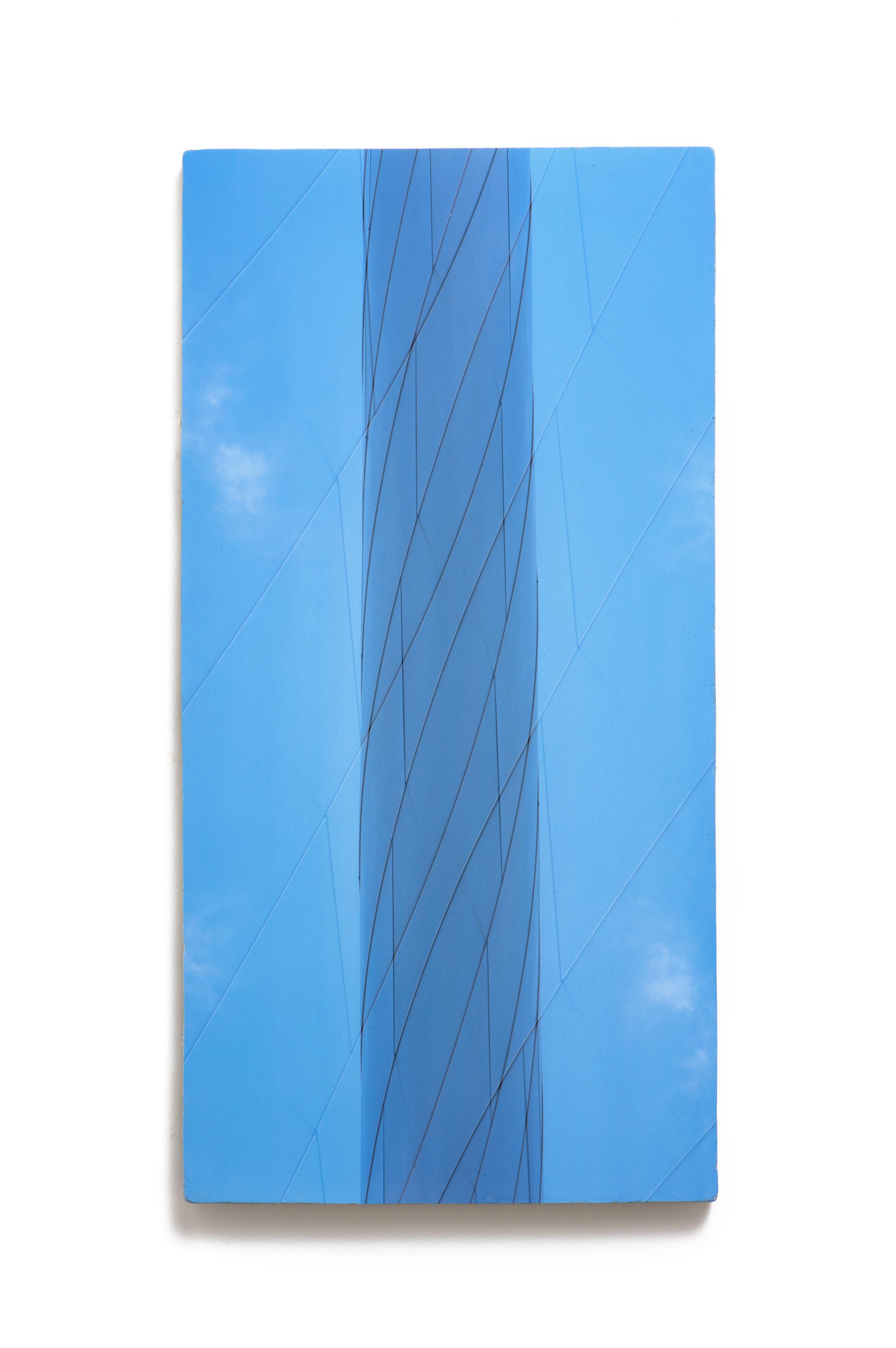Counterform Light Column , 2017 UV ink on concrete 40 1/2 × 20 1/2 × 1 1/2 in Unique