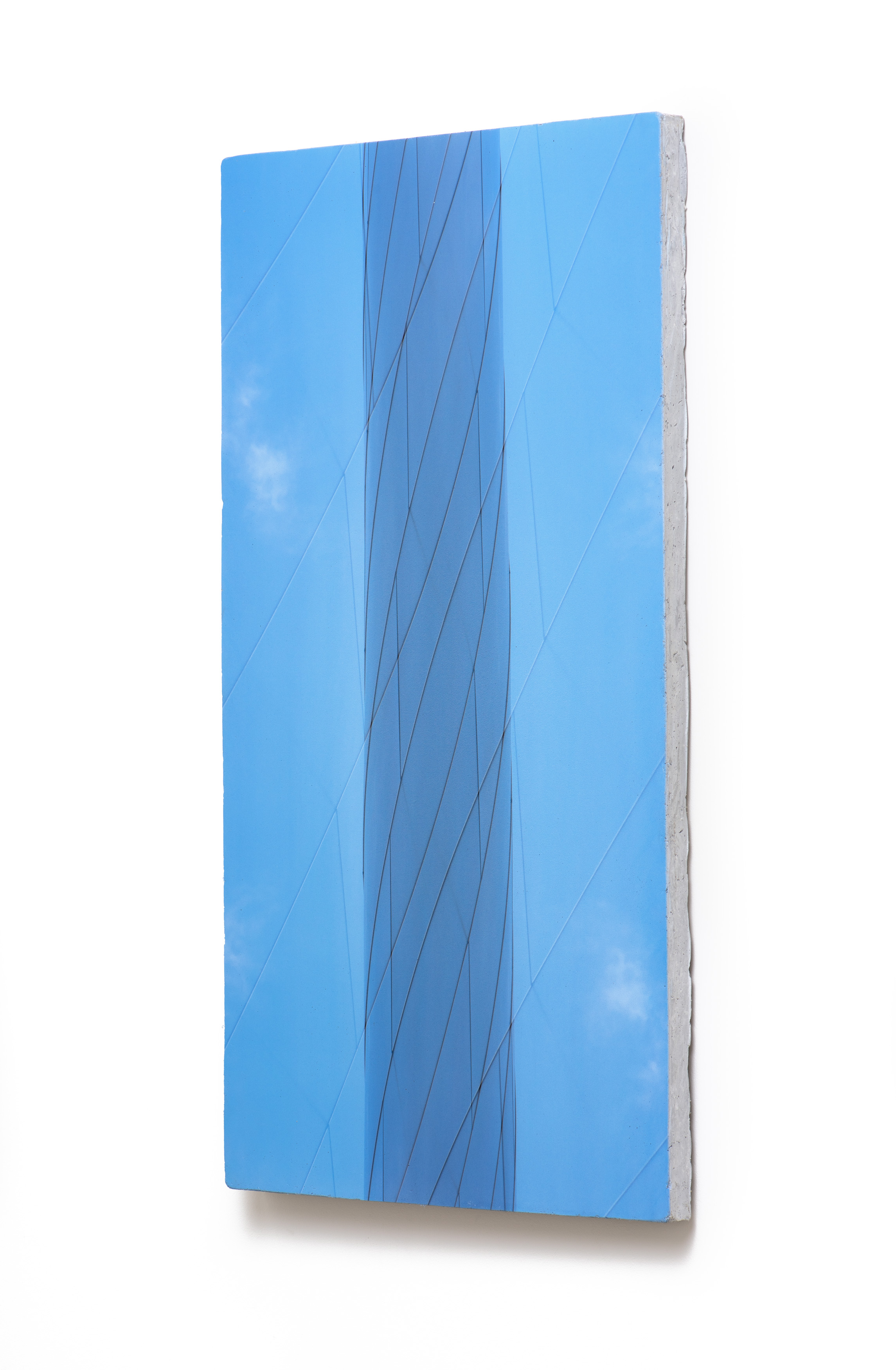 Counterform Light Column , 2017 (oblique) UV ink on concrete 40 1/2 × 20 1/2 × 1 1/2 in Unique