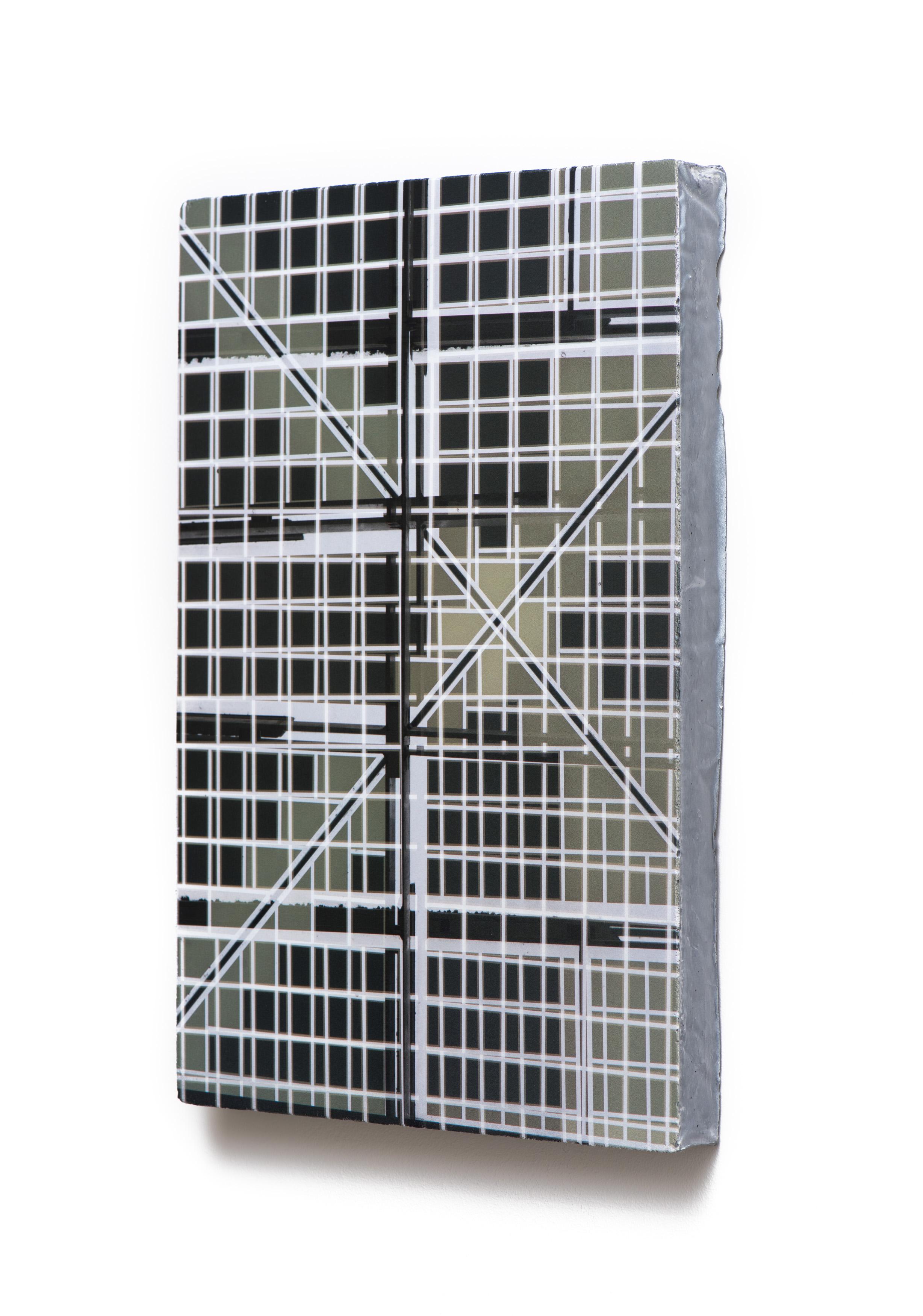 Counterform Intersection, 2017 (oblique) UV ink on concrete 18 1/2 × 12 1/2 × 1 1/2 in Unique