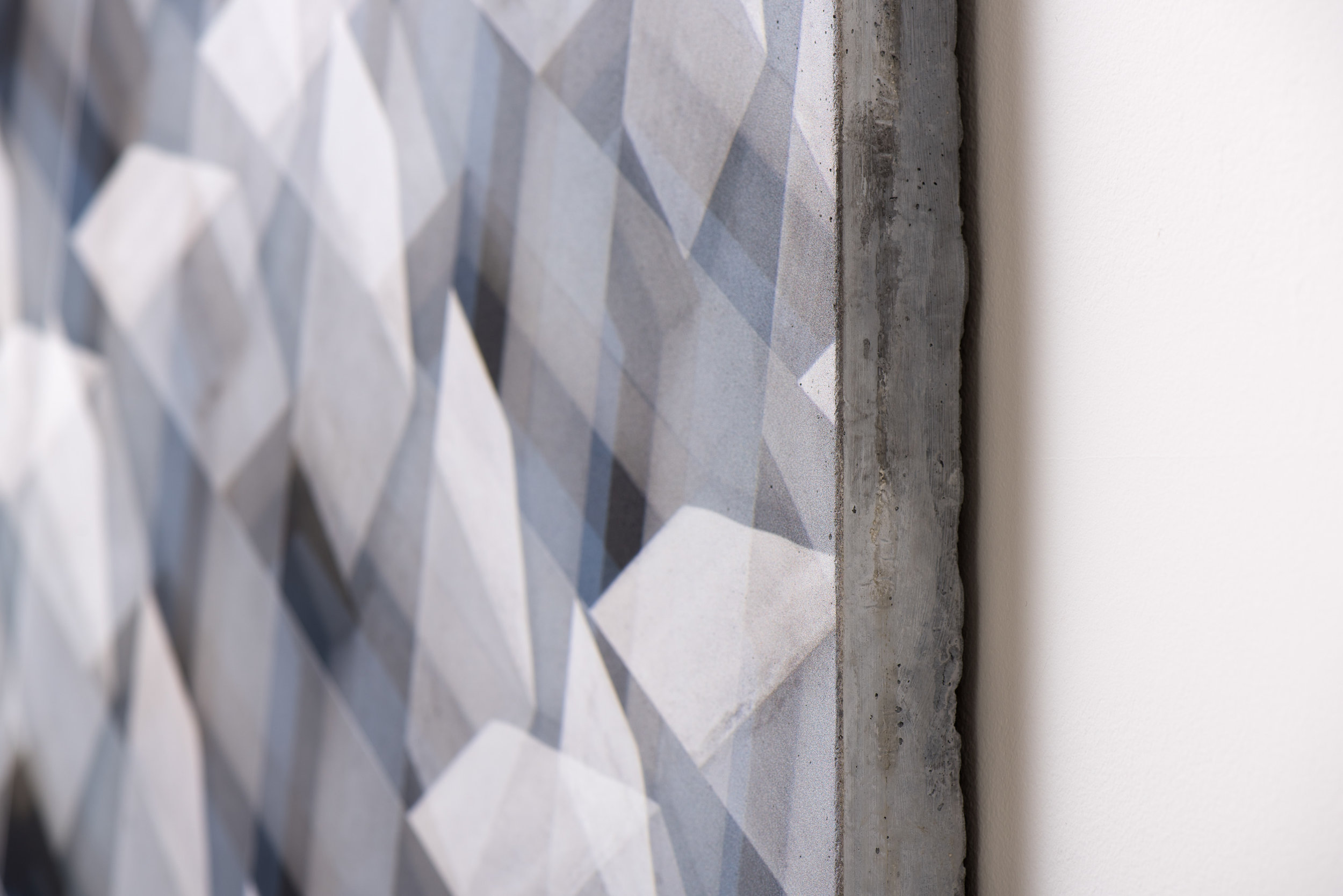 Shape Gradient , 2017 (detail) UV ink on concrete 36 1/2 × 63 1/2 Inches Unique
