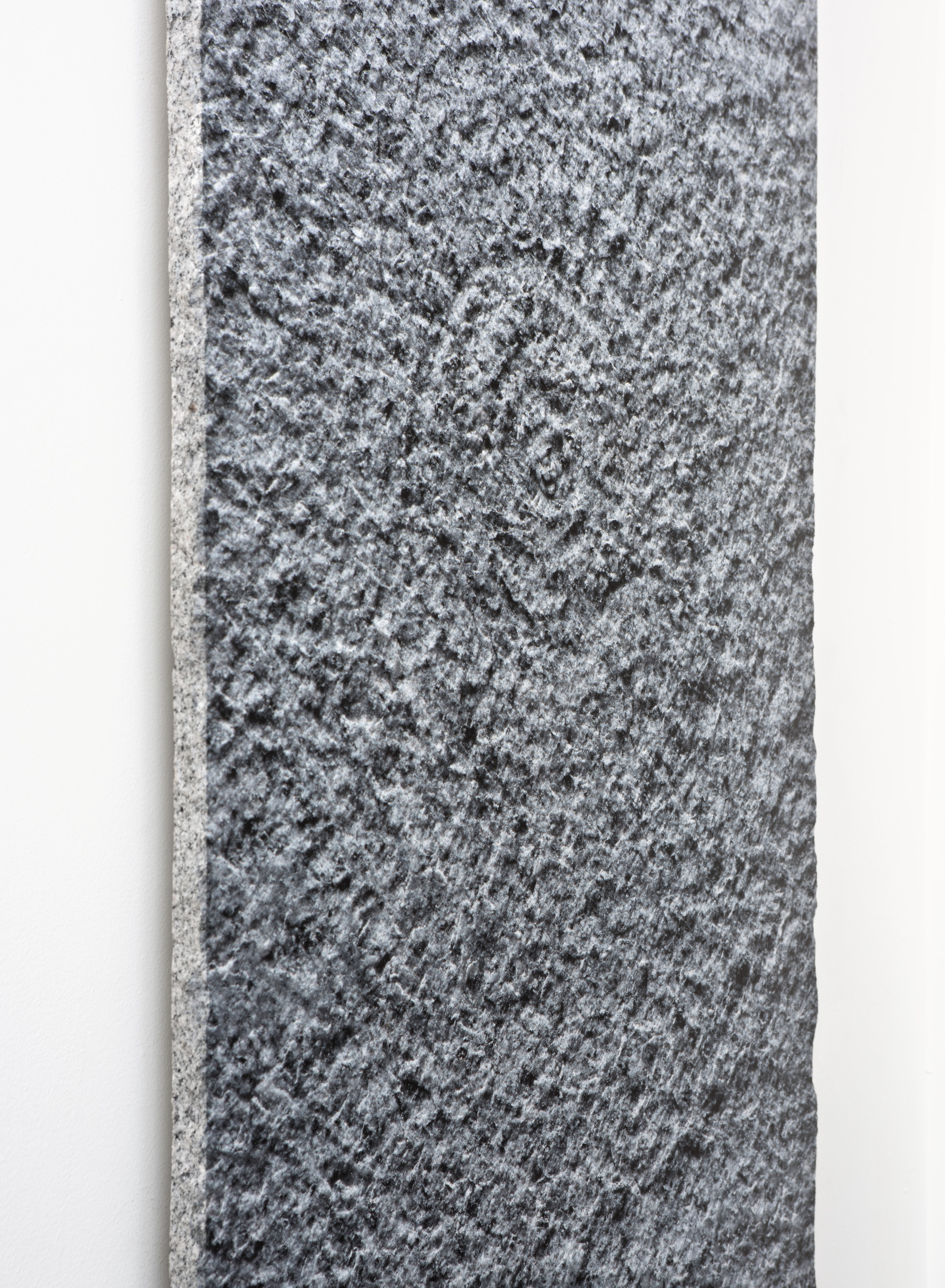 Granite Spiral I,  2019 (detail) UV ink on granite with concrete cleats 36x24 Inches