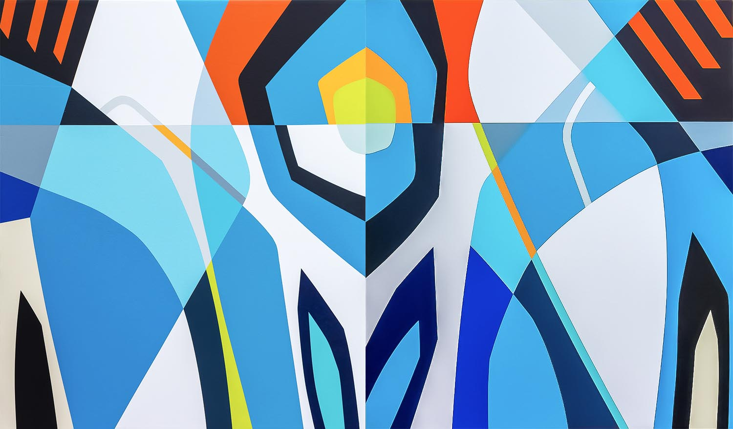 """LADY BLUE  [Dyptich]   96'"""" X 56'' X 3""""   Acrylics and Enamel on Canvas  .  .  .  .  ."""