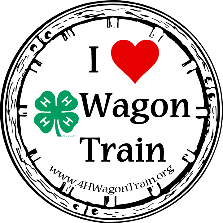 """4-H Wagon Train Stickers Now Available! - Be one of the first to display your love for 4HWT and give one sticker to a friend you've invited to join you on the trail!For every donation of $10 or more through the 4-H Wagon Train web site, you will receive TWO """"I LOVE 4-H Wagon Train"""" 2.5""""x2.5"""" round, vinyl stickers."""