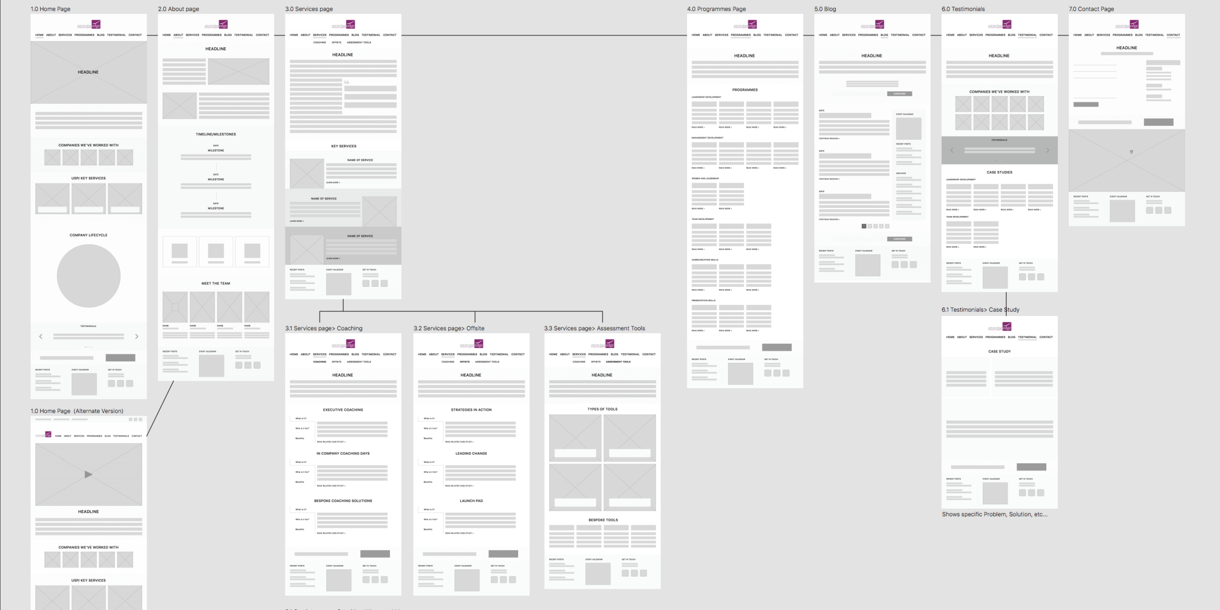 Website Map & Wireframing - Working closely with the design team, we drew on the information gathered during the copywriting workshop to create a sitemap with a logical structure and hierarchy.After fully understanding and empathising with the needs of our audience, we wireframed each page of the site to ensure a logical structure and that copy and design worked hand in hand, ensure calls to action, buttons and images were logically placed for the best possible user experience.