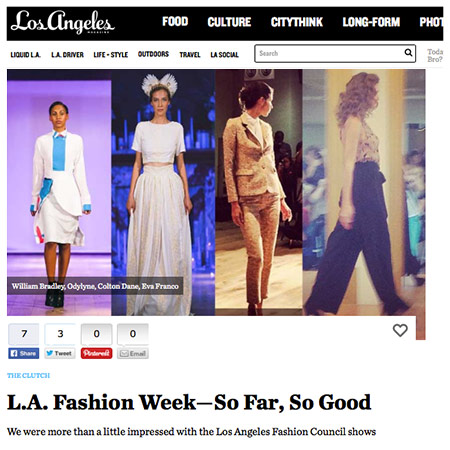 "LOS ANGELES MAGAZINE  ""..one of the breakout hits of L.A. Fashion week, so far. Parnell's collection was fresh and inventive."""