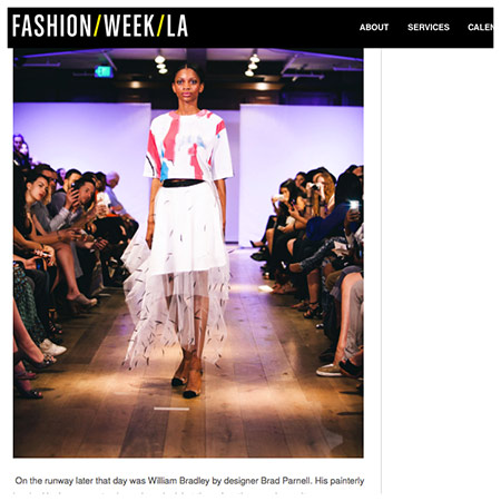 "FASHION WEEK LA  ""The cuts and layering were unusual but made perfect sense walking down the runway."""