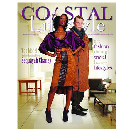 COASTAL LIFESTYLE MAGAZINE  November 2011 cover shot featuring skirt, top, coat, and pants from William Bradley.