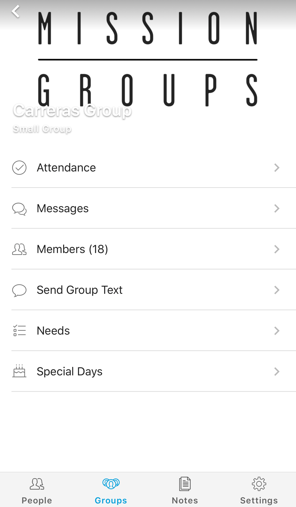 Click on your group to manage it!