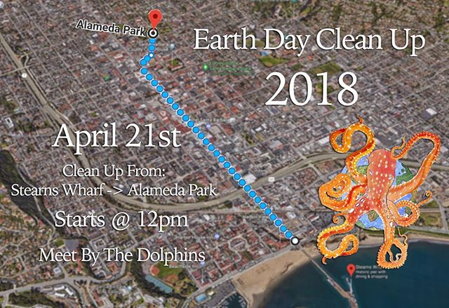 🌎 Earth Day 2018 🙋🏻 Join us on April 21st as we walk from Stearns Wharf to Alameda Park to celebrate Santa Barbara's Earth Day Festival!! 🌳🌻🌊☀️🌸 Meet us by the dolphin fountain where we will begin the clean up after handing out bags, reachers and gloves to all volunteers!  Hope to see you there!! 🤗 - Image created by @myworldproductions - @exploreecology @sbcitytrash  @sbchannelkeeper @sbcreeks  @sbhustlers  @sbindependent  @edhatsantabarbara  @thirdwindowbrewing @impacthubsb  @sbdaze  @save_the_mermaids  @visitsantabarbara  @viva.santabarbara  @santabarbarachamber  @santabarbaramag @onsantabarbara  @downtownsantabarbara  @sincerelysantabarbara  @santa.barbara.living @earthdaynetwork