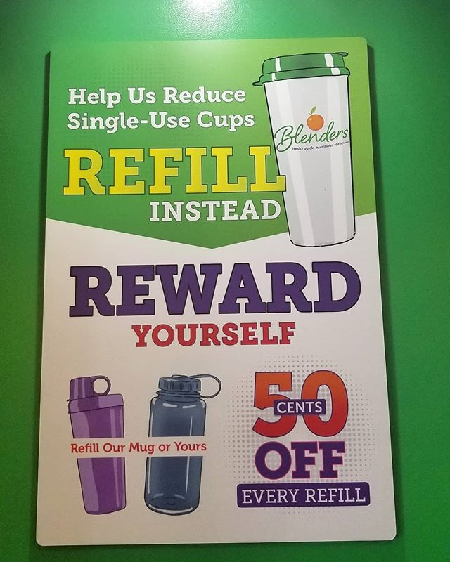 Disappointed that @blendersinthegrass brought their #Styrofoam cups back👎But they have a new style for their reusable mug which is less bulky so **hopefully** more customers will buy them, plus you have the option to bring in your own cup/bowl of any kind and get .50 cents off your order. . Please Remember to #Reduce and #Reuse 🙏💚