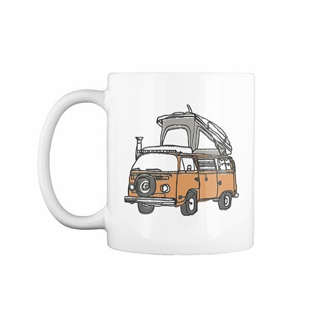 A while back I created this illustration of @jamesbarkman van. Well I thought it would look pretty rad staring at me while enjoying my favorite cup of joe. These are now available through @teespring for a limited time. You can order by clicking the link in my bio!  Tag a friend below that you know can't live without this gem! #butfirstcoffee