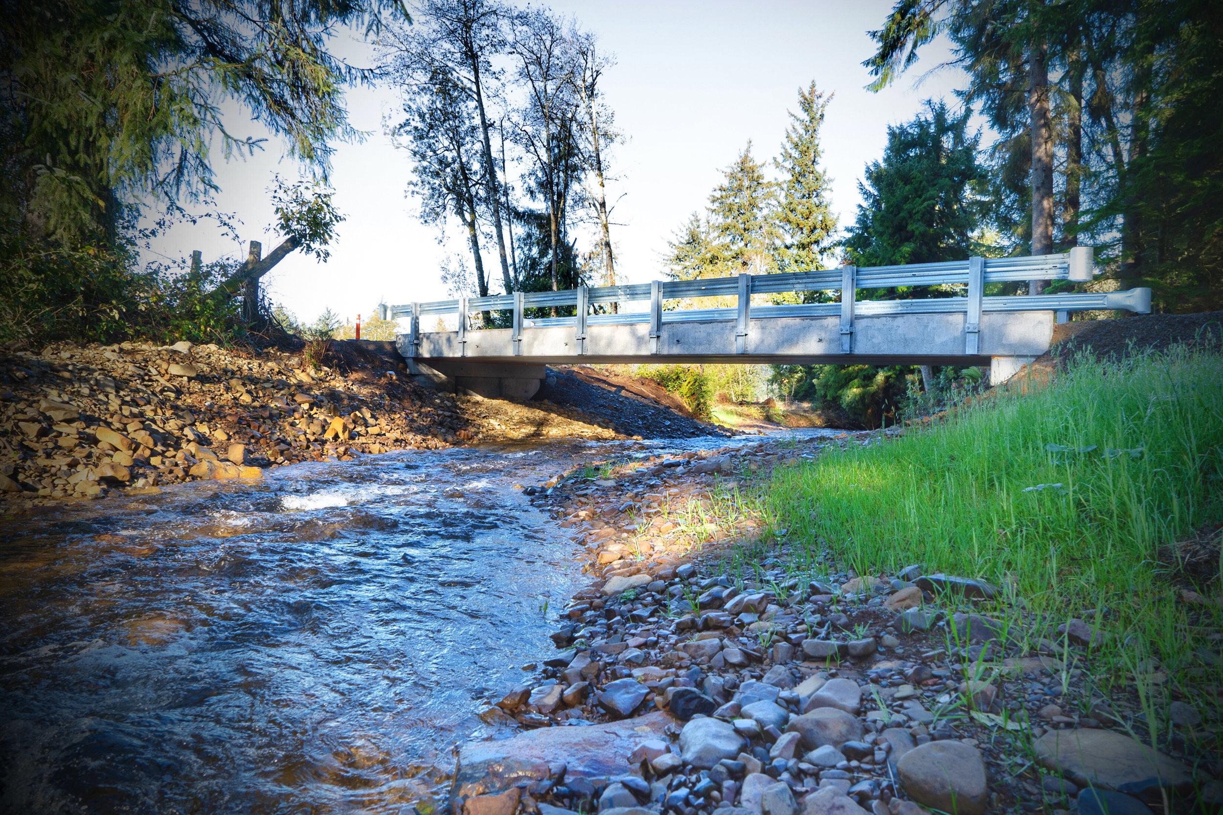 The completed bridge over Jewel Creek