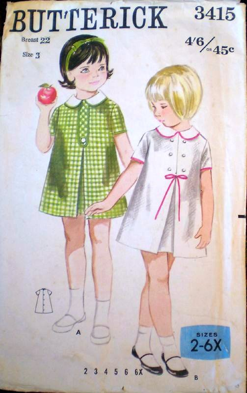 pattern Mum used to make matching dresses for my sister and me. We wore them to the Sunday School festival day, no collars though, she didn't like making collars.