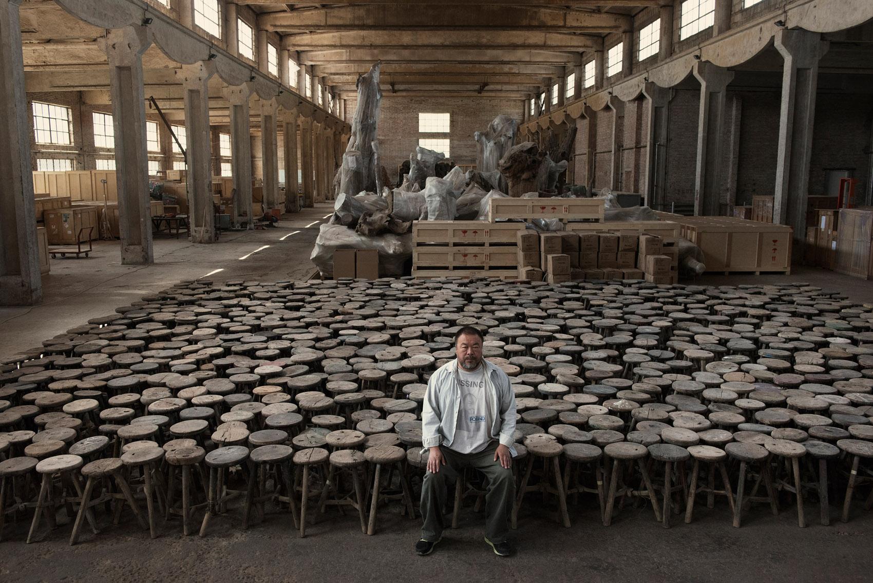 Ai Wei Wei in his wharehouse studio.