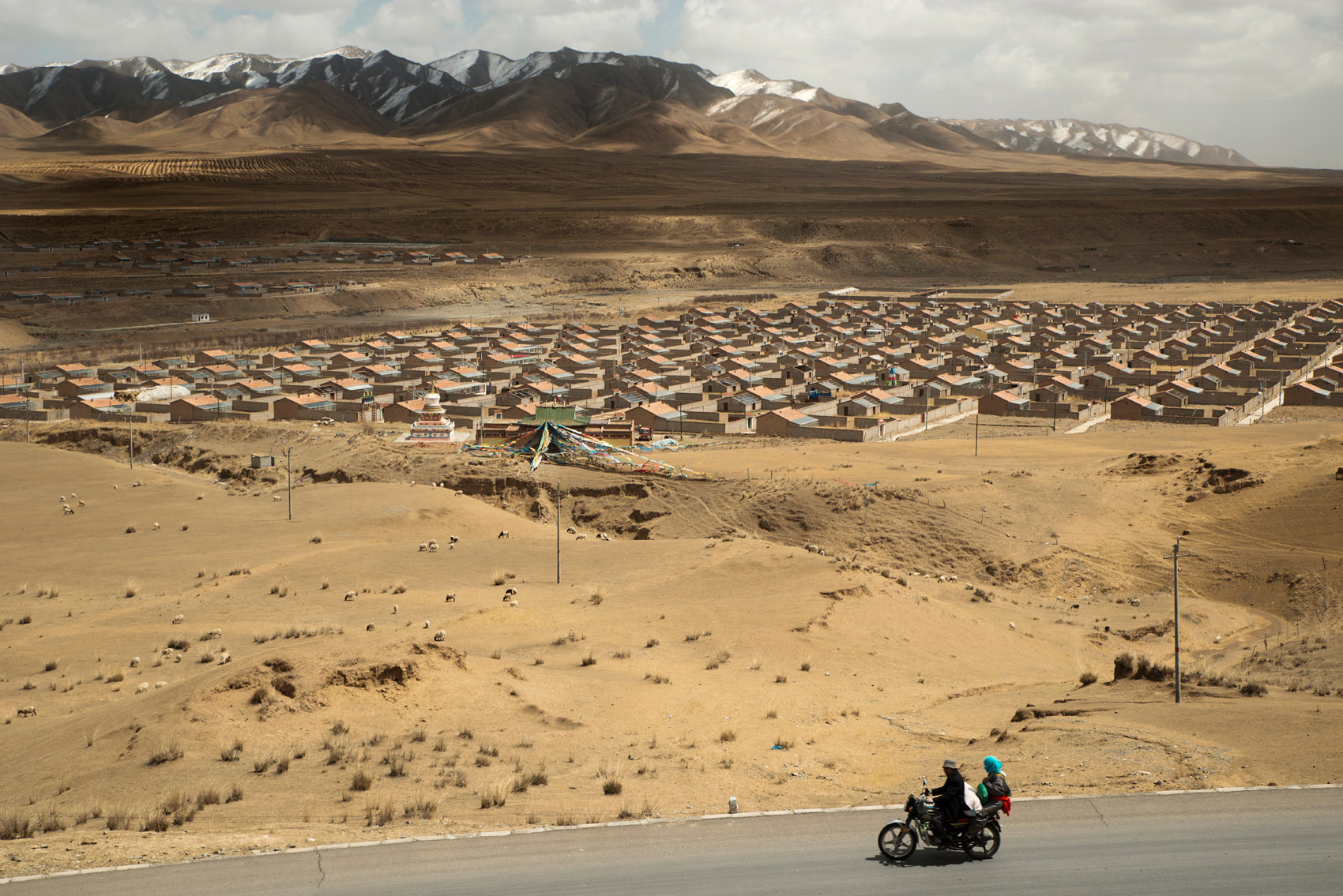Rows of houses built for resettled nomads. In the name of environmental protection, the government has implemented a policy of nomads resettlement putting their traditional lifestyle and livelihood at risk. This policy, by curtailing pastoralism, officially aims at reducing the desertification threatening the Tibetan eco-system and other parts of China. Scientists are skeptical about its efficiency, arguing that pastoralism contributes to the sustainability of the grassland, while human rights groups criticise its high human cost.