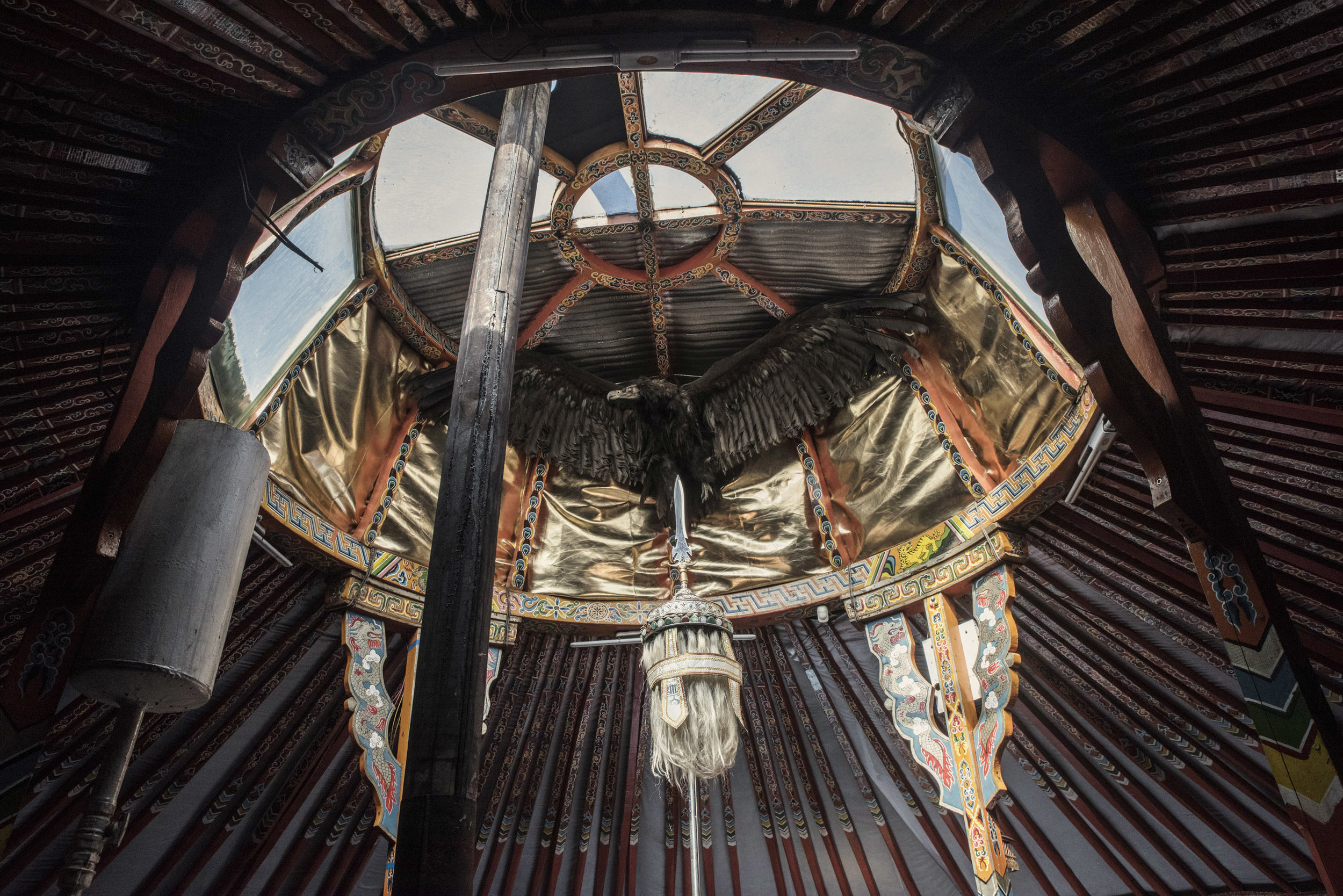 A stuffed eagle placed atop the ger (Mongolian tent) of the Centre for Shamanic Eternal Heavenly Sophistication where a renown shaman used to practice before his accidental death.  Eagles are closely associated with Mongolian shamanic traditions and the shaman themselves.