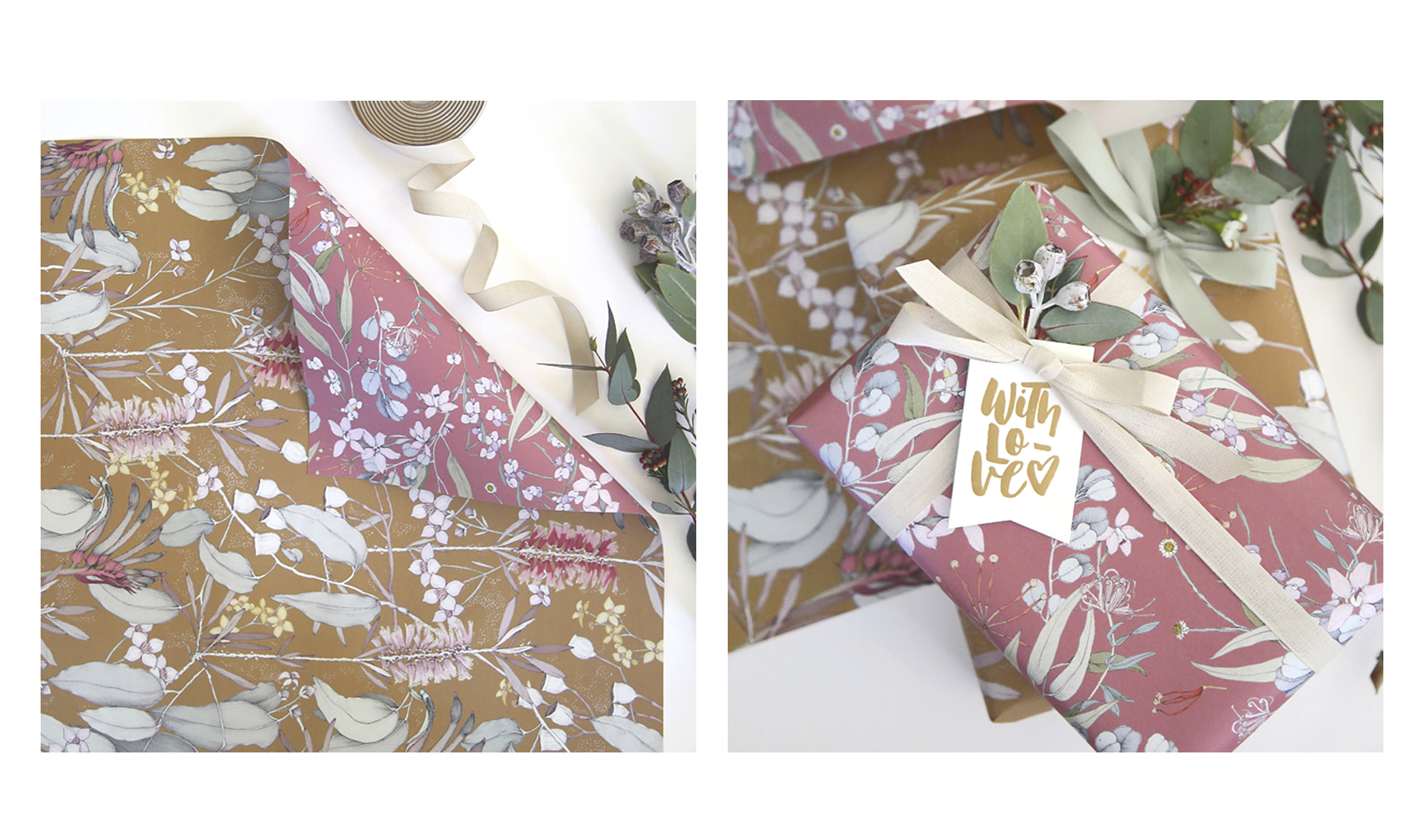 Illustration and Pattern design for  Bespoke Letterpress .  Printed across Wrapping paper, gift cards & tags, and notebooks.