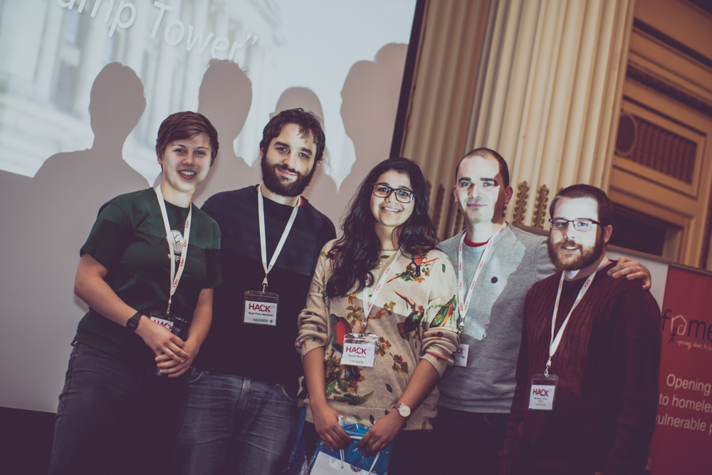 Naomi Penfold  with the winners of Hack24 2017's eLife challenge, the  Bad Hombres