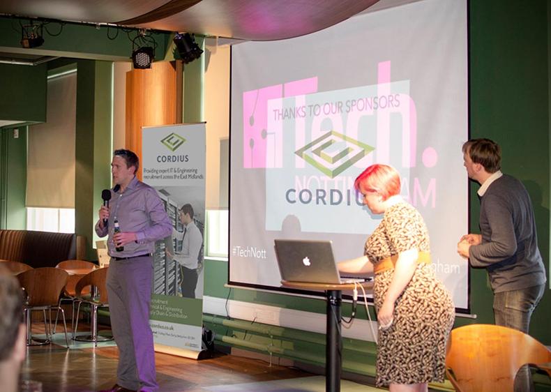 Cordius'  Justian Blount  speaking at Tech Nottingham