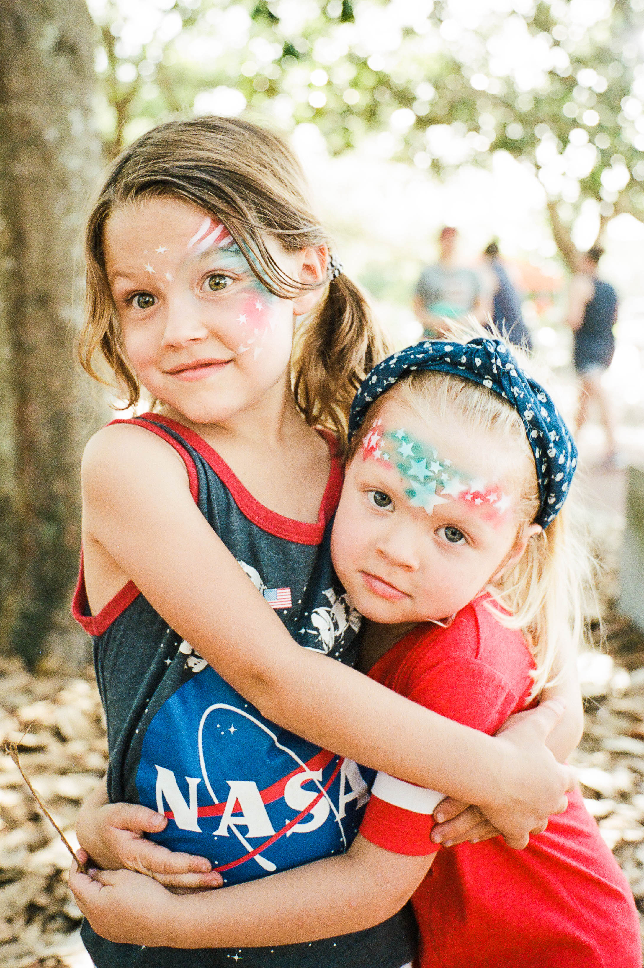 They had their faces painted (for free!) downtown prior to the big fireworks show.