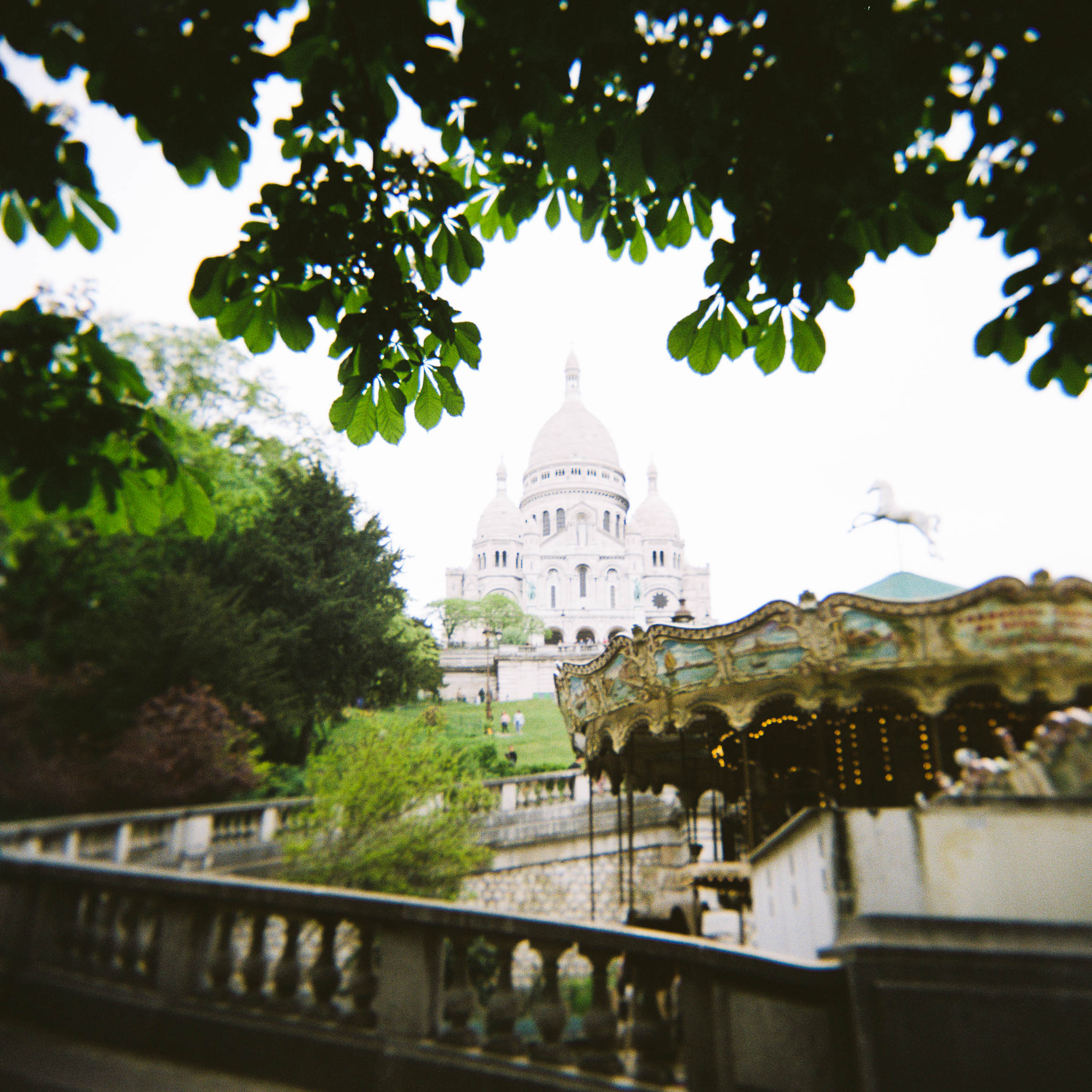 The Sacred Heart Basilica.  We had climbed to the top of the tower to get the above shot of the Eiffel Tower.