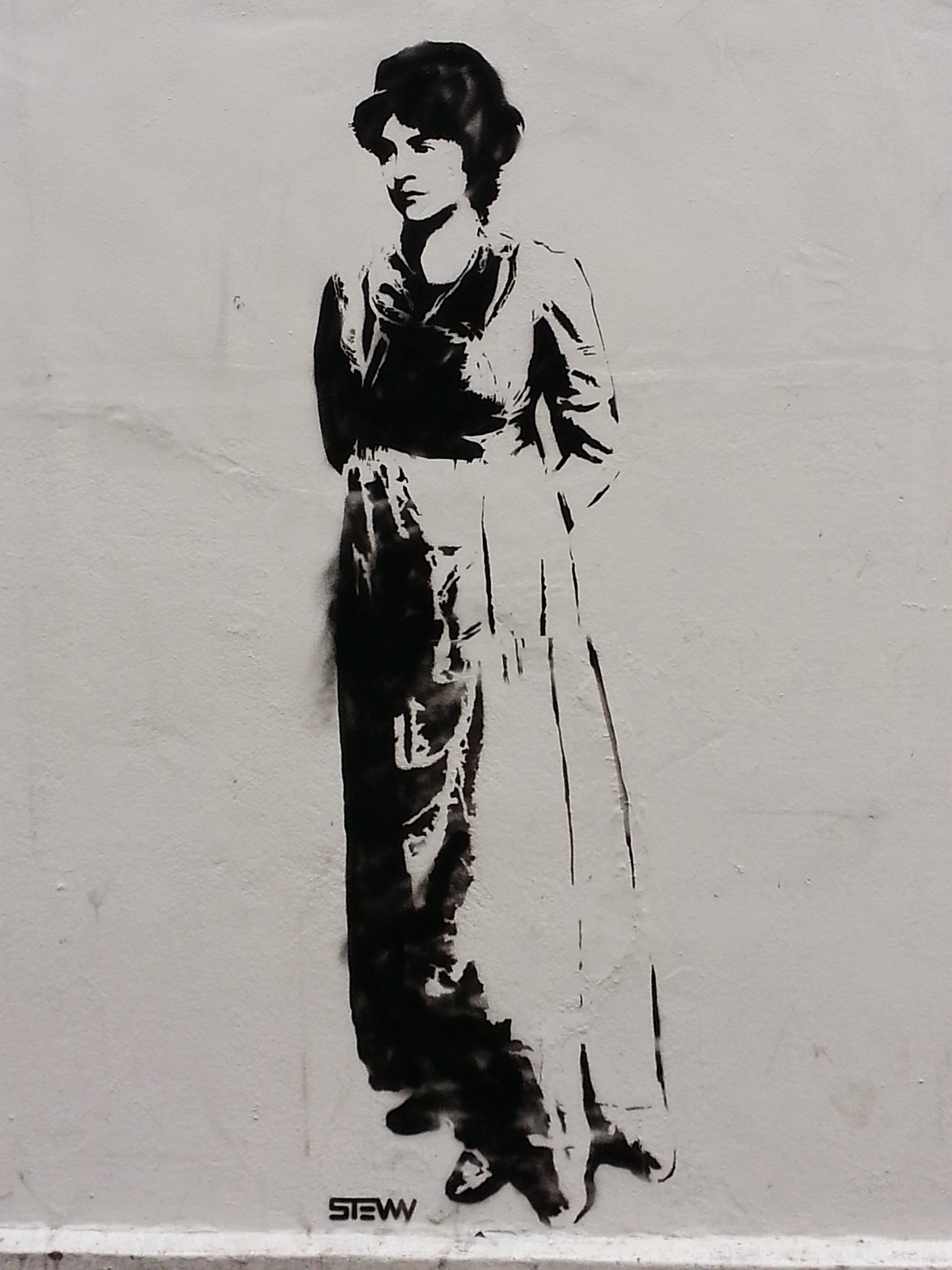 Mary Wollstonecraft street art stencil by  STEWY . Located on the outside wall of New Unity @ Newington Green.
