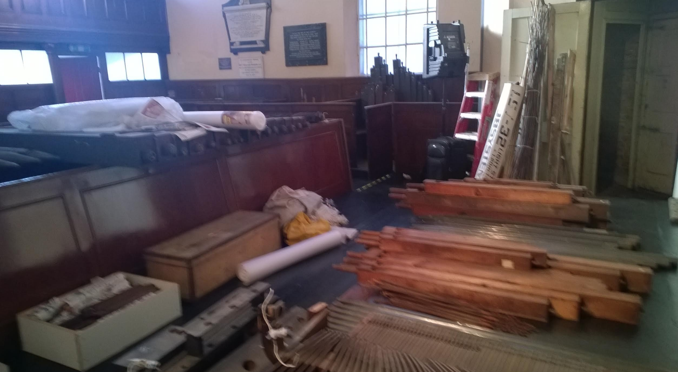 The organ leaving the Meeting House