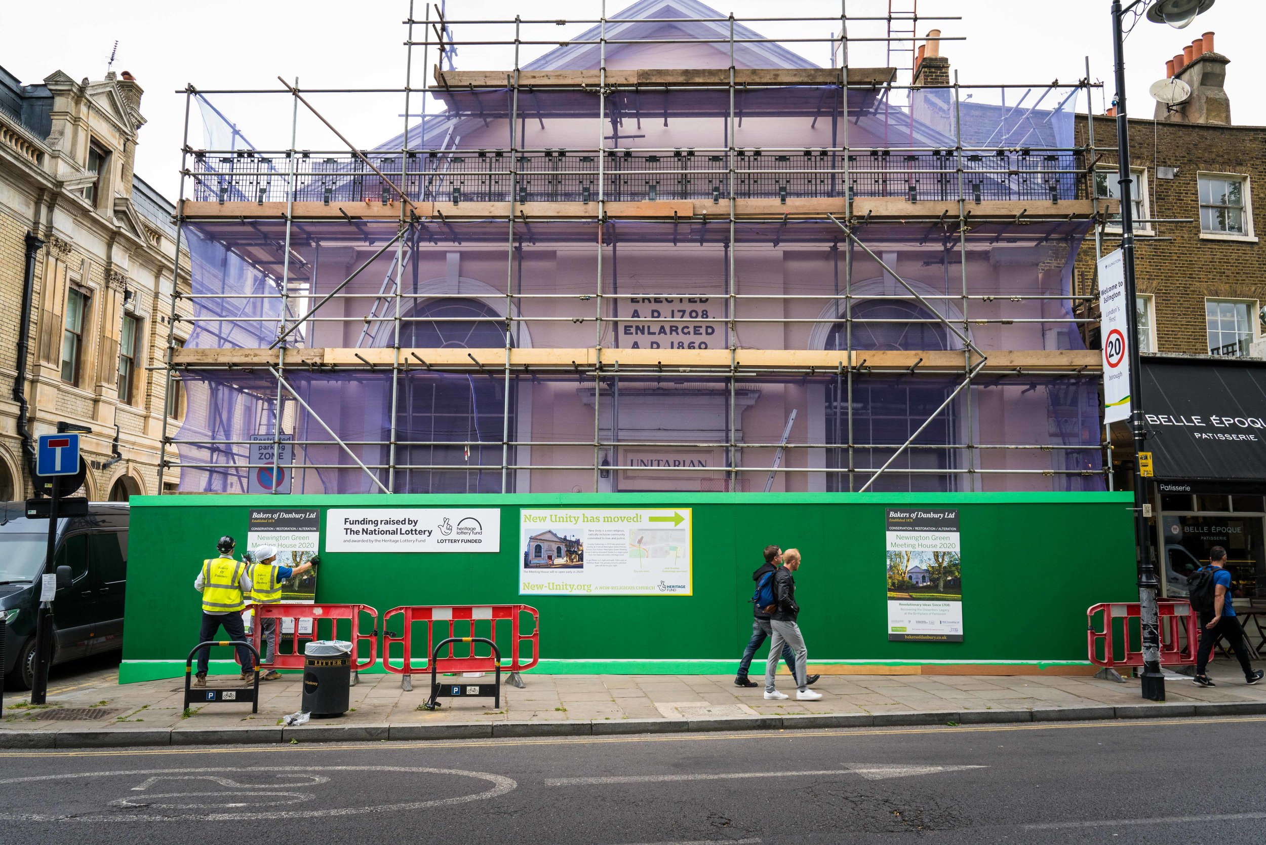 The Meeting House covered in scaffolding