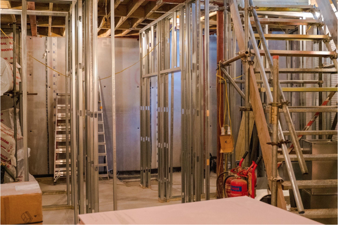 The basement is ready to receive the new partition walls that will separate the new compartments, including the new lift, shower, toilet and meeting room.
