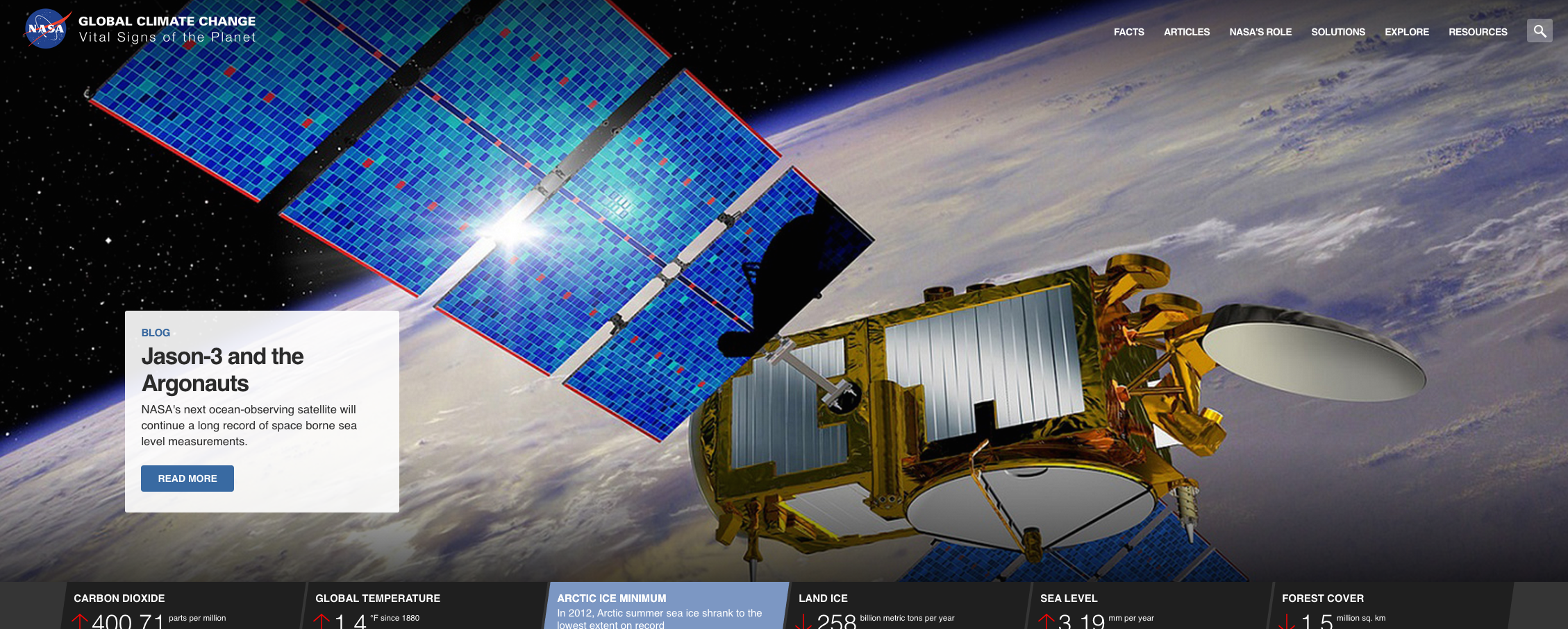 NASA's climate change site -- big and beautiful! Pour yourself a glass of something nice and spend some time here.
