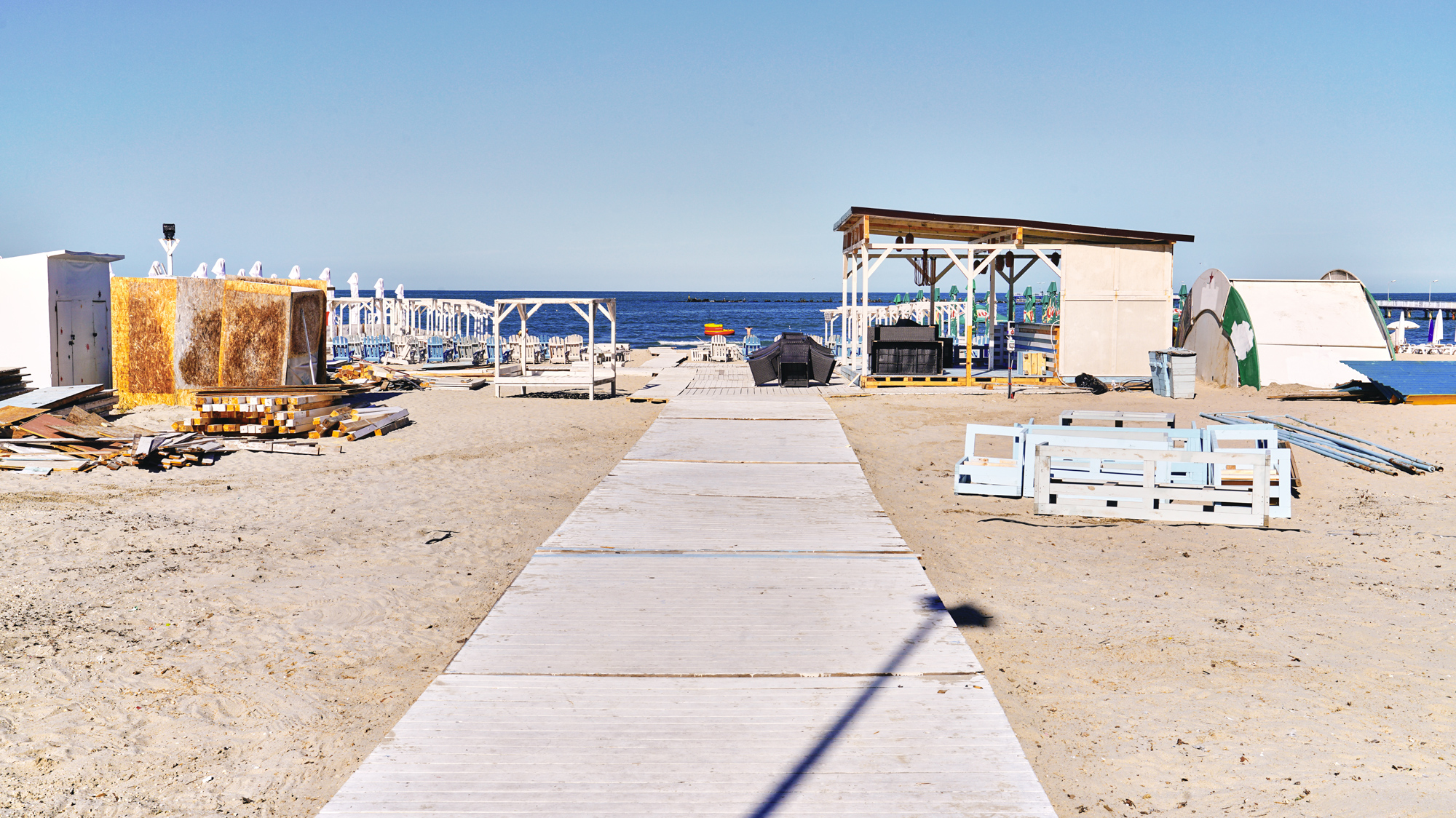 An Eastern European beach resort, normally a refuge of relaxation, lays dormant in its own state of rest. Is it abandoned, or in transition?
