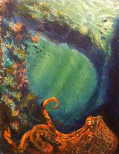 Ethereal Octopus - Acrylic on board