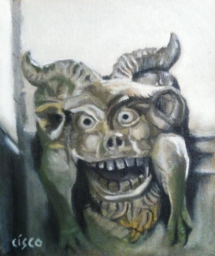 Happy Gargoyle - Oil on board