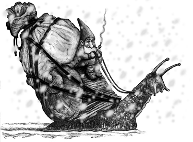 Snorri Sluggmund Snail Mail Service - Pencil Sketch
