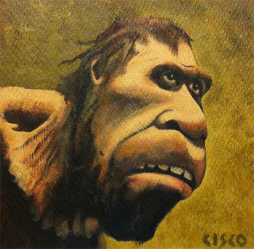 Caveman Caricature - Acrylic on board