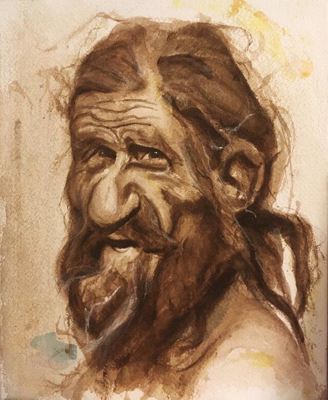 Otzi The Iceman - Watercolor