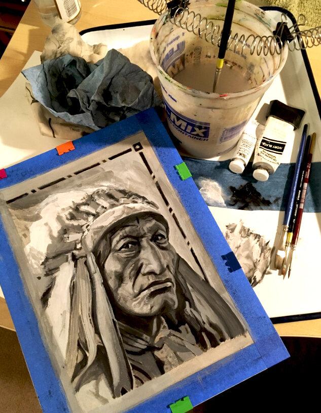 Native American War Bonnet - Gouache