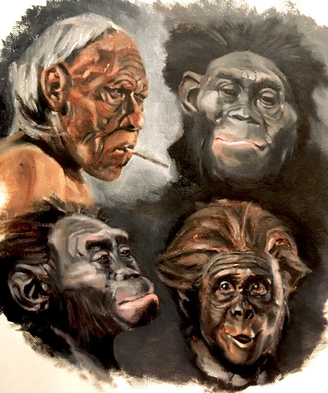 Early Hominids - Oil Paint