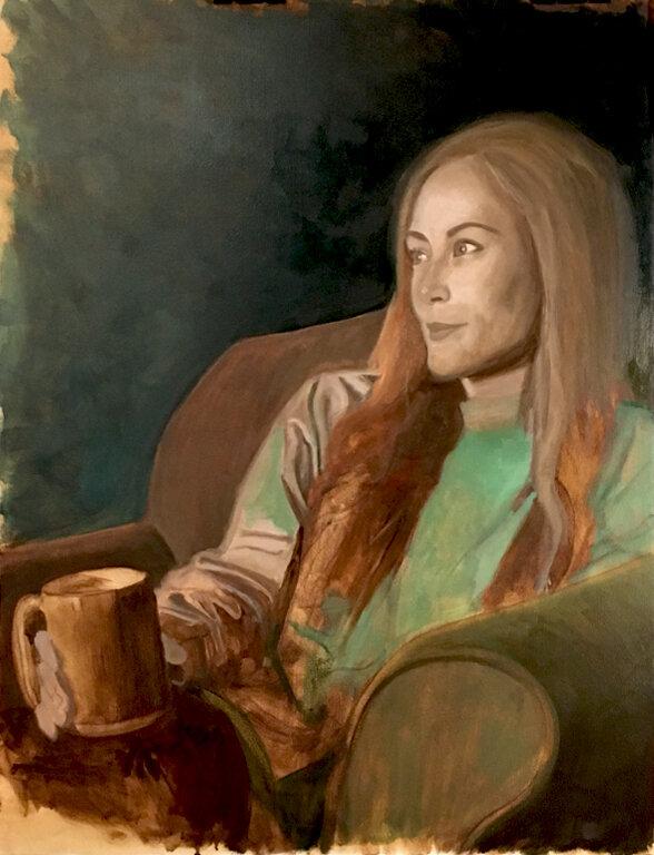 Bay Arts Girl - Oil on board